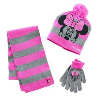 Disney's Minnie Mouse Striped Hat, Gloves & Scarf Set - Girls 7-16, Size: One Size (Blue)