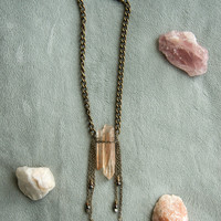 FRINGE QUARTZ CHOKER - Healing Stone Natural Raw Peach Quartz Trendy Boho Chic Festival Style Necklace - Charlie Girl Gems