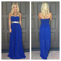 Belle Of The Ball Sequin Maxi Dress - ROYAL BLUE