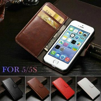 Case Cover for iPhone IPHON 5 vintage Wallet PU Leather 5S SE 5SE