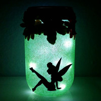 Fairy night light, fairy jar, fairy light, green light, blue jar, flower jar, mason jar, gifts for kids, mason jar light, night light