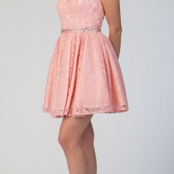 Blush Short Homecoming Dress with Keyhole Back