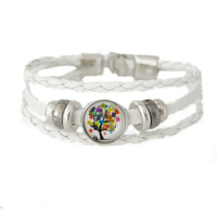 Leather Snap Charm Bracelet Braided White Snap