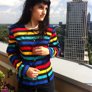 Vintage MultiColored Striped Jacket // by HawkShopVintage on Etsy