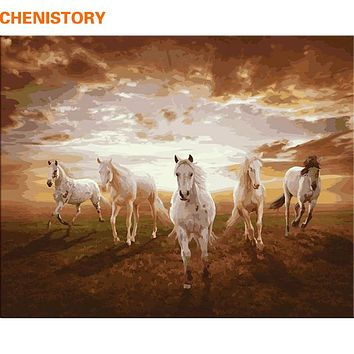 CHENISTORY Running Horse DIY Painting By Numbers Paint On Canvas Kits Drawing Paint By Numbers For Living Room Home Wall Decor