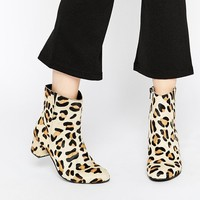 Warehouse Leopard Print Pony Hair Block Heel Calf Boots
