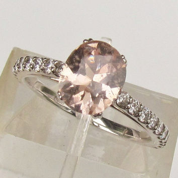 Engagement Ring Pale Peach Sapphire Oval Shape in 14k White Diamond Accented Ring September Birthstone Gemstone  Morganite Alternative