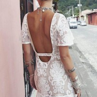 White Lace Embroidery Backless Dress | SPREDFASHION