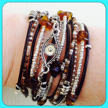 Boho Chic Brown Leather Evil Eye WRAP BRACELET with Silver Accents, Evil Eye Jewelery, Endless wrap bracelet, triple wrap bracelet