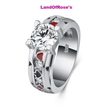 Spades A Playing Card Shape Wedding Ring for Woman Sliver Twist Classical Cubic Zirconia Crystals Jewelry Couple Punk Rings