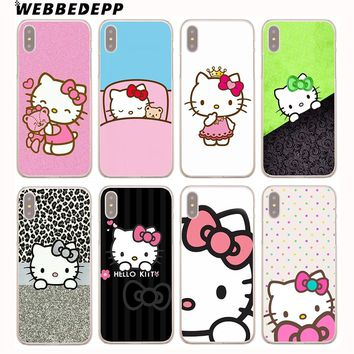 WEBBEDEPP Doraemon And Hello Kitty Hard Phone Case for iPhone XR XS Max X 8 Plus 7 6s Plus 5S 5 SE 5C 4S 4 Cover