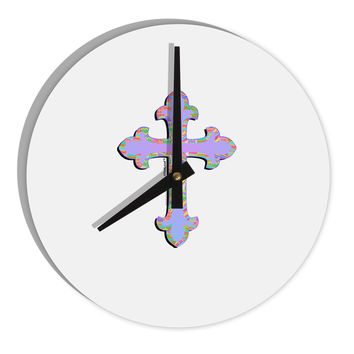 "Easter Color Cross 8"" Round Wall Clock"