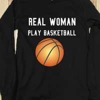 Real woman play basketball