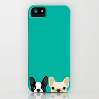 Boston Terrier & French Bulldog 2 iPhone & iPod Case by Anne Was Here