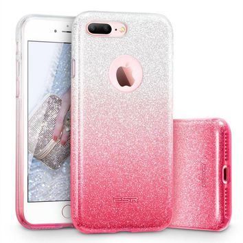 "iPhone 7 Plus Case, ESR Glitter Sparkle Bling Case with Three Layer Structure [Slim Fit] for Apple 5.5"" iPhone 7 Plus(2016 Release)(Ombre Pink)"