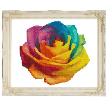 Rainbow Rose Cross Stitch Pattern