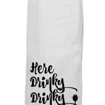 Here Drinky Drinky Kitchen Towel by Twisted Wares