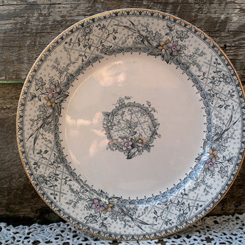 "Antique Blue/Gray Transferware 10"" Plate by Johnson Brothers, England, ""LACE PATTERN"",  Serving Plate, Ironstone"