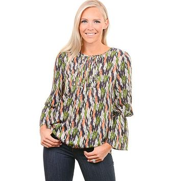 Green Multi Color Bell Sleeve Blouse