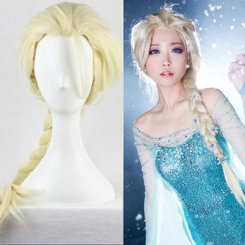 High Quality Anime Cosplay Wigs 80cm Long Straight Princess Elsa Anna Wigs for Women Female Fake Hair Braided Wig Blond Brown