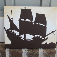 Navy Ship Silhouette on Cream - Nautical, Pirate - Handpainted Painting Wall Decor Art  -You customize,!