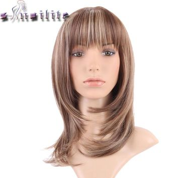 S-noilite Straight Synthetic Wigs For African American Black Women Long Brown Mixed Blonde Two Tone Wigs With Bangs