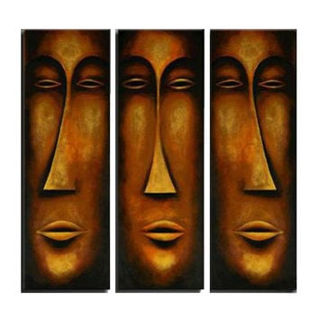 African Mask Canvas Wall Art Oil Painting