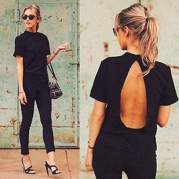 Women Cut Out Back Blouse