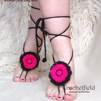Floral Summer Barefoot Sandals, Gypsy, Beach pool party, Nude shoes, Foot thong, Anklet, Foot jewelry, Footless, Flowers, Gift for her,
