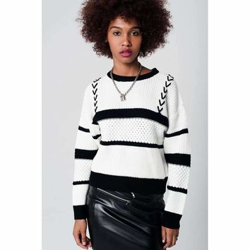 Cream Striped Cable Knit Sweater