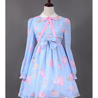 [$45.99]Teapot Printed Long Sleeves Lolita OP Dress - HANA