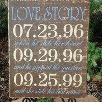 Personalized WEDDING Important Date Sign,  Love Story, Rustic Wedding, Outdoor Wedding, Bridal Shower Gift , Engagement gift, Special Dates
