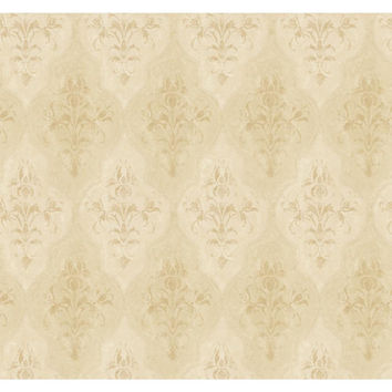 York Wallcoverings RG5005 Fresco Golden Yellow and Pearl Beige Moroccan Damask Wallpaper
