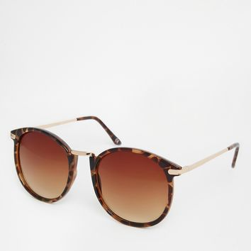 ASOS Oversized Round Sunglasses With Metal Nose Bridge