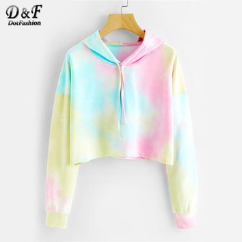 Dotfashion Tie Dye Drop Shoulder Crop Hoodie 2017 Multicolor Tie Dye Pullovers Long Sleeve Drawstring Autumn Female Sweatshirt