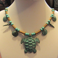 Ancient Greece Style Beaded Necklace With Greek Ceramic, Copper With Patina and Ghanaian Brass Beads 19.75""