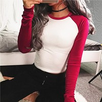 Women Casual Velvet Stitching Multicolor Round Neck Long Sleeve Bodycon T-shirt Tops