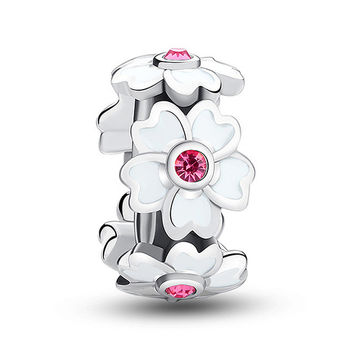 1PC Silver Sakura Charms Pink Crystal White Cherry Blossoms Bead fit European Pandora Style Charm Bracelets and Necklaces