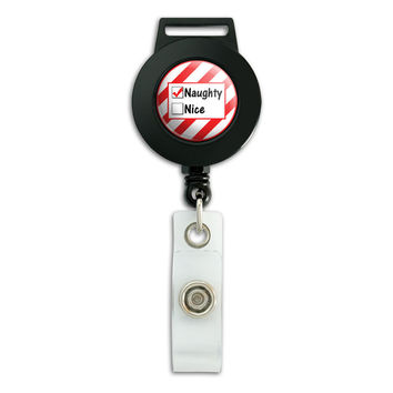 Naughty Not Nice Christmas Funny Retractable Badge Card ID Holder