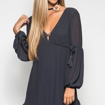 Peasant Layered Dress - Charcoal