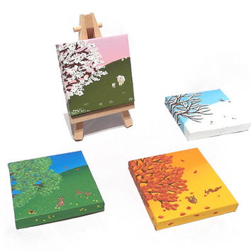 Change With the Seasons - set of 4 seasonal landscape paintings on mini canvases with easel