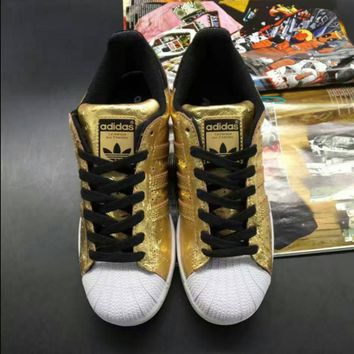 """""""Adidas"""" Fashion  Shell-toe Golden Flats Sneakers Sport Shoes"""