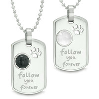 Follow You Forever Amulets Wolf Paw Simulated Onyx White Simulated Cats Eye Yin Yang Couples Necklaces