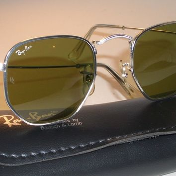VINTAGE B&L RAY BAN W1840 CLASSIC SILVER WIRE RB3 TRU-GREEN AVIATOR SUNGLASSES