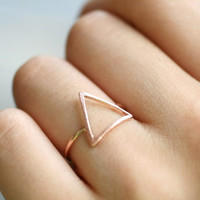 Unique Arrowhead,  Triangle, Mountain peak, Chevron ring. Choose your color. Gold, Silver or Pink gold. DoubleBJewelry, DoubleB. Double B.