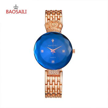 BAOSAILI Brand 2 Colors Fashion Crystal Crown Women's Watch Relogio Feminino Alloy Watchband Ladies Quartz Wristwatches 5052
