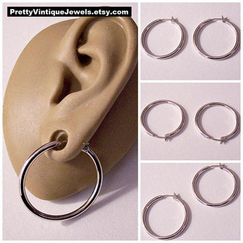 Monet Tube Hoop Pierced Stud Earrings Silver Plated Tone Vintage Large Round Wide Band Surgical Steel Posts Open Dangle Rings