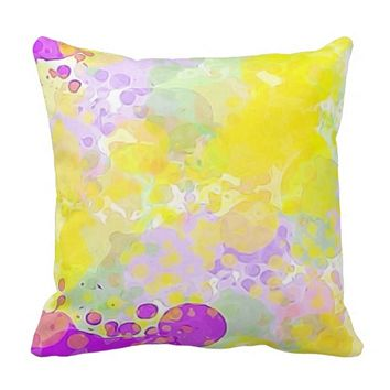 Modern Colorful Watercolor Paint Splash Abstract Throw Pillow