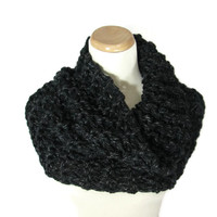 Chunky Cowl, Hand Knit Scarf, Black, Gray, Circle Scarf, Infinity Scarf,  Winter, Women,