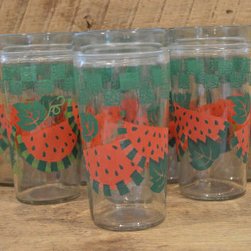 Watermelon Glasses, Watermelon Tumblers, Watermelon Tea Glass, Set of Eight Glasses, Summer Picnic, Fruit Glasses, Vintage Watermelon